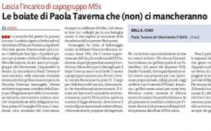 """Libero: """"Le boiate di Paola Taverna che (non) ci mancheranno"""""""