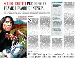 """Il Fatto Quotidiano: """"Scudo-partiti per coprire trame e favori di Nunzia De Girolamo"""""""