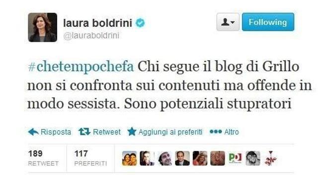 """Laura Boldrini-M5s, giallo tweet. Staff della Presidente: """"E' falso"""""""