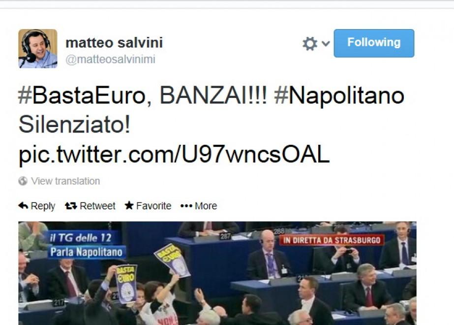 """Matteo Salvini su Twitter: """"Banzai! Napolitano silenziato"""""""
