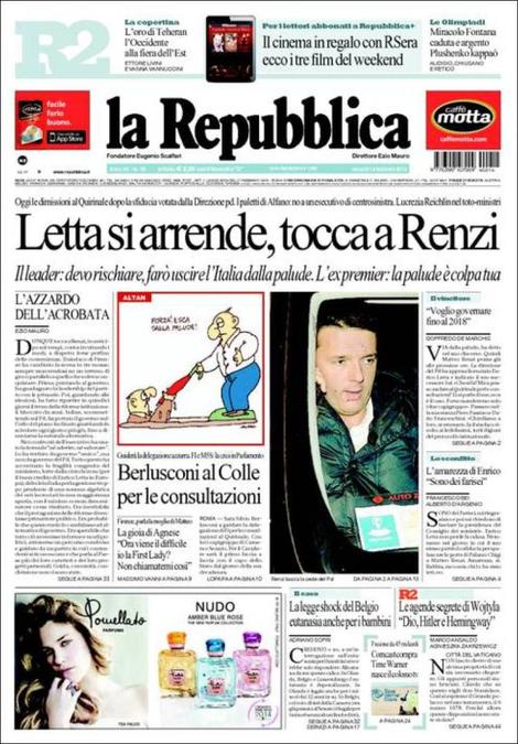 Letta lascia, tocca a Renzi; Eutanasia, sì per minori in Belgio: rassegna del 14 febbraio