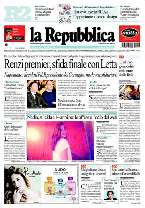 Letta-Renzi; Impeachment; Svizzera: rassegna stampa del 12 febbraio