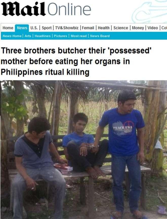 """Filippine, uccidono la madre e mangiano gli organi: """"Era posseduta"""""""