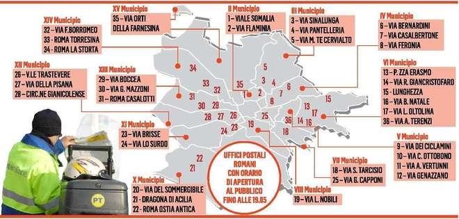 Poste, salgono a 100 gli uffici con orario prolungato a Roma (mappa)