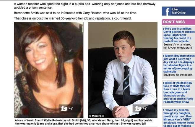 Bernadette Smith e l'allievo sedotto (Daily Mail)