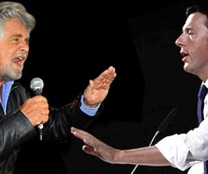 Renzi e Grillo: due treni contro. Crash a maggio, per ora si fa male M5S Express