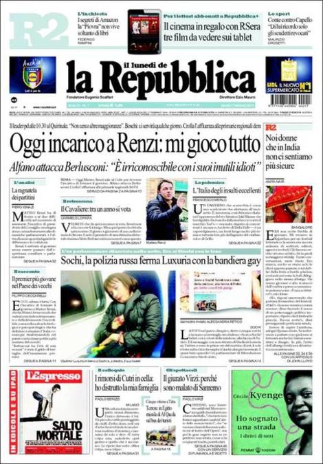 Renzi, oggi l'incarico; Luxuria; Serie A: rassegna stampa del 17 febbraio