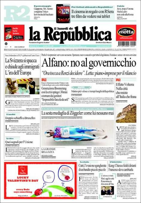 Svizzera chiude agli immigrati; Alfano; Evasione Cutrì: rassegna stampa 10 febbraio