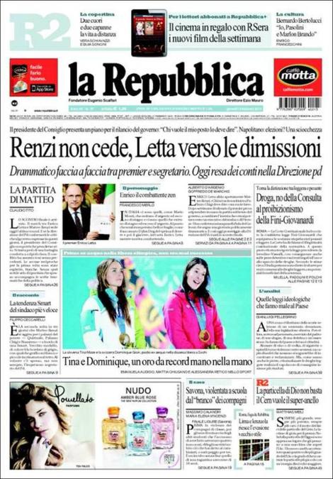Letta-Renzi; Droga, bocciata la Fini-Giovanardi: rassegna stampa del 13 febbraio