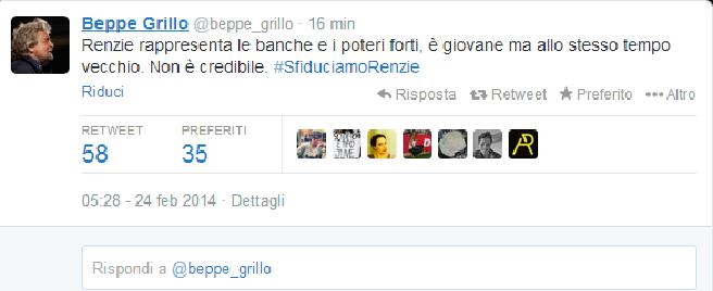 """Beppe Grillo sfiducia Renzi: """"E' un giovane vecchio. Non è credibile"""""""