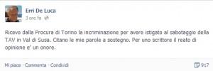 """No Tav, Erri De Luca indagato per sabotaggio: """"Reato di opinione? Un onore"""""""