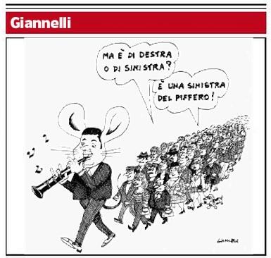 Renzi pifferaio e sinistra del piffero: Giannelli, vignetta sul Corriere della Sera