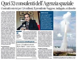 """""""Enrico Saggese e quei 52 consulenti dell'Agenzia spaziale"""", Sarzanini sul Corriere"""