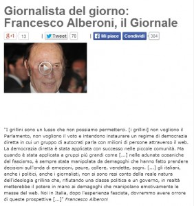 """Blog Beppe Grillo: """"Francesco Alberoni è il giornalista del giorno"""""""