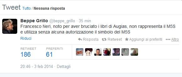 """Beppe Grillo contro Francesco Neri: """"Bruciato libro Augias? Non è di M5s"""""""
