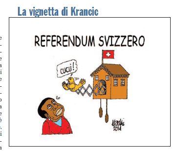 Cécile Kyenge e il referendum svizzero, la vignetta del Giornale
