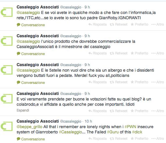 """Casaleggio Associati, account twitter hackerato: """"Vostro Guru è stato bucato"""""""