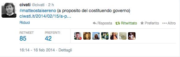 Pippo Civati a Matteo Renzi: dopo #enricostaisereno ora #matteostaisereno