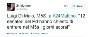 """Luigi Di Maio: """"12 senatori del Pd vogliono entrare in M5s"""""""