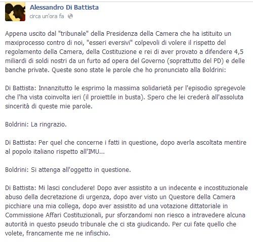 """Alessandro Di Battista sfida Laura Boldrini:"""" """"Sanzioni? Me ne infischio"""""""