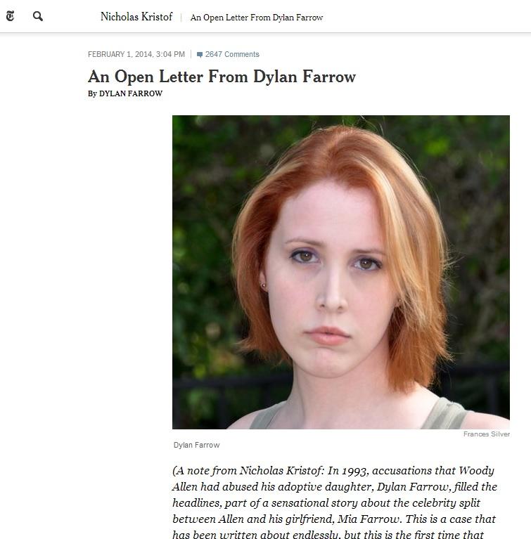 "Woody Allen: ""Lettera di Dylan Farrow falsa e vergognosa"""