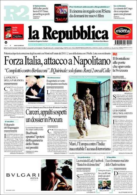 Napolitano, immigrati, marò: rassegna stampa dell'11 febbraio