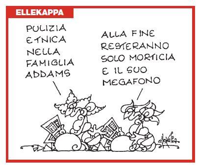 Pulizia etnica nella famiglia Addams: la vignetta di Ellekappa