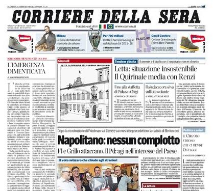 """""""L'emergenza dimenticata"""", Massimo Franco sul Corriere"""