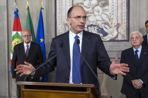 Enrico Letta il giorno in cui accettò l'incarico da premier, nell'aprile scorso