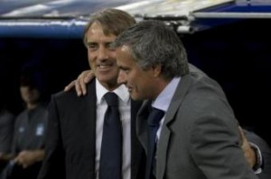 Galatasaray-Chelsea, Roberto Mancini e Josè Mourinho (foto LaPresse)
