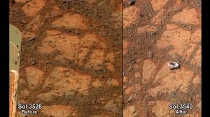"""Marte e il sasso della """"discordia"""". Niente vita aliena, spostato dal rover Nasa"""