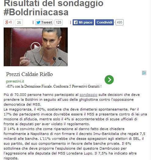 """Blog Beppe Grillo, risultati sondaggio: """"Laura Boldrini deve dimettersi"""""""