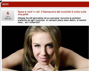 """Mikaela Kavalli, Kamasutra musicisti: """"Cantanti pecorina, bassisti missionario"""""""