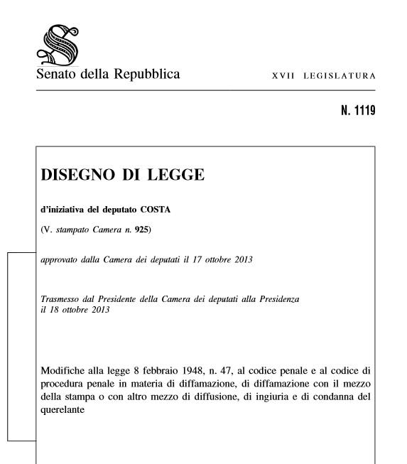 Ddl Diffamazione: il testo integrale e gli emendamenti in discussione al Senato