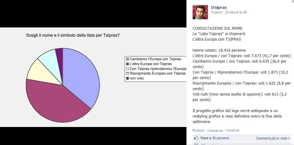 """Lista Tsipras si chiamerà """"L'altra Europa con Tsipras"""""""