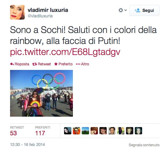 "Vladimir Luxuria arrestata a Sochi per bandiera ""Essere gay è ok"""