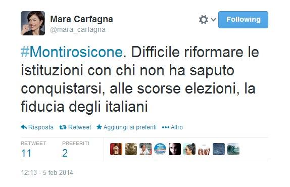 #Montirosicone, hashtag creato da Mara Carfagna su Twitter