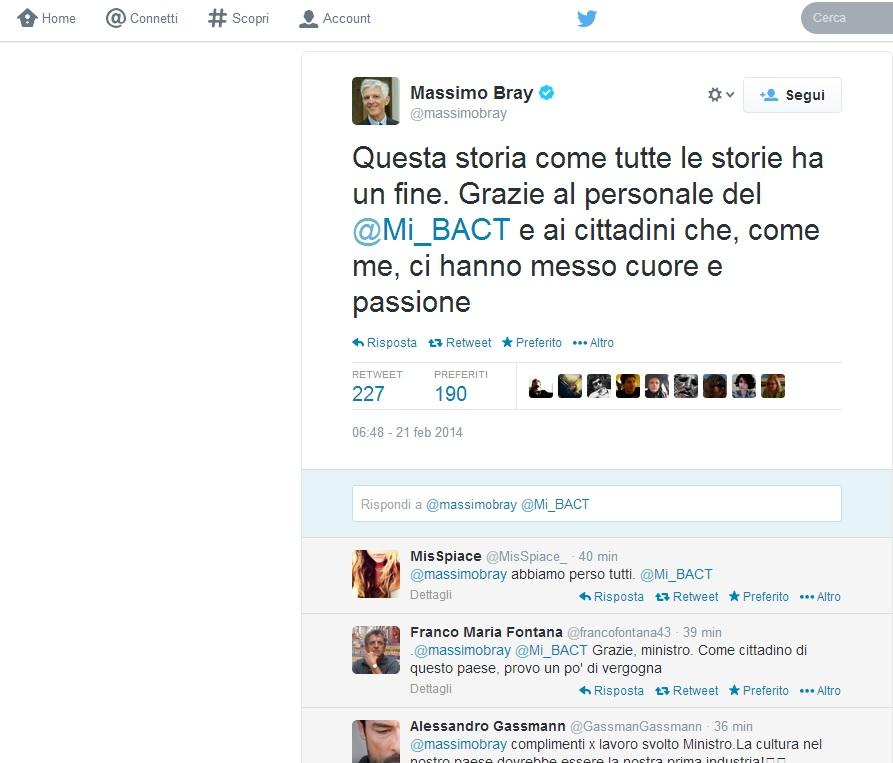Massimo Bray: addio su Twitter al Ministero della Cultura