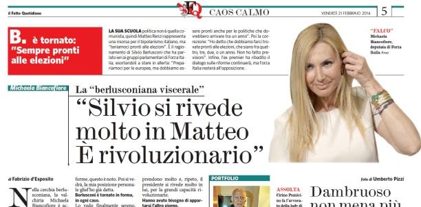 """Michaela Biancofiore: """"Berlusconi si rivede molto in Renzi. È rivoluzionario"""""""