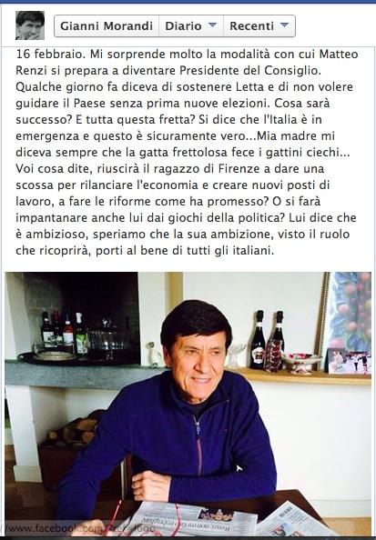 """Matteo Renzi, Gianni Morandi su Facebook: """"Cos'è tutta questa fretta?"""""""