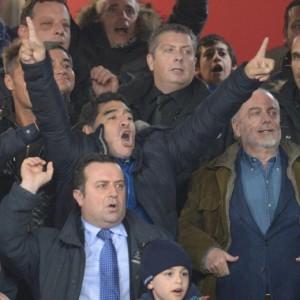 Napoli in finale, la gioia di Maradona e De Laurentiis (Ansa)