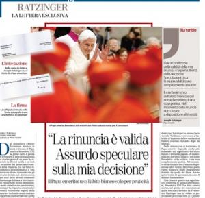 """Benedetto XVI scrive alla Stampa: """"La mia rinuncia valida. Nessun complotto"""""""