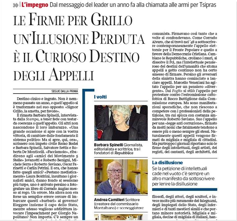 """Pierluigi Battista, mercoledì 5 febbraio, Corriere della Sera: """"L'illusione perduta delle firme per Grillo"""""""