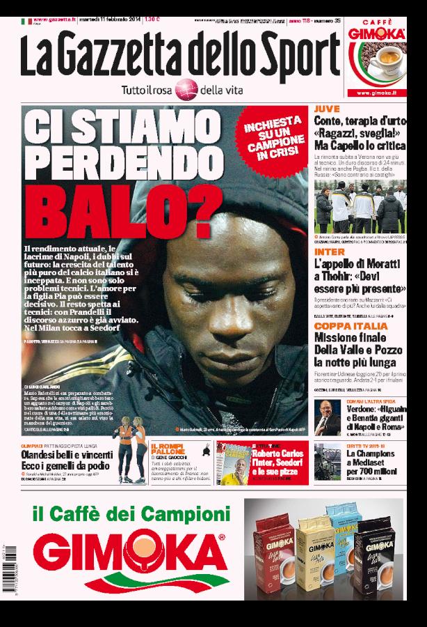 """Balotelli, La Gazzetta dello Sport: """"Salvate il soldato Mario"""""""