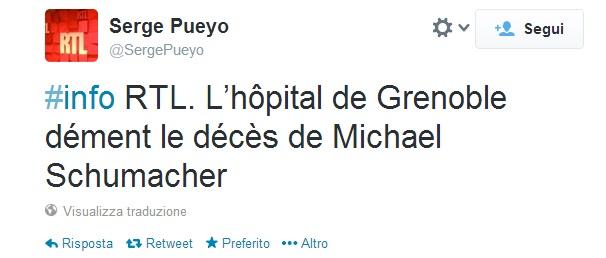 """""""Michael Schumacher non è morto"""". Ospedale Grenoble zittisce rumors su Twitter"""