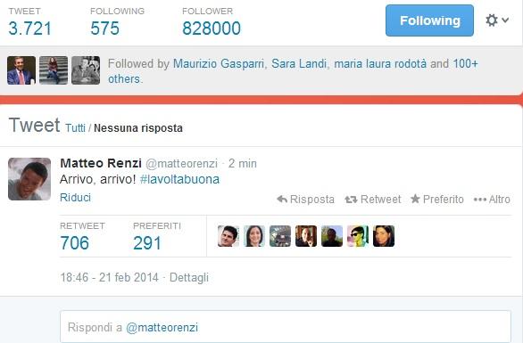 "Matteo Renzi su Twitter: ""Arrivo, arrivo #lavoltabuona"""