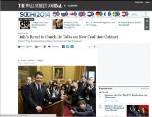 """Matteo Renzi condannato a essere """"formidabile"""" come dicono. Wall Street Journal"""