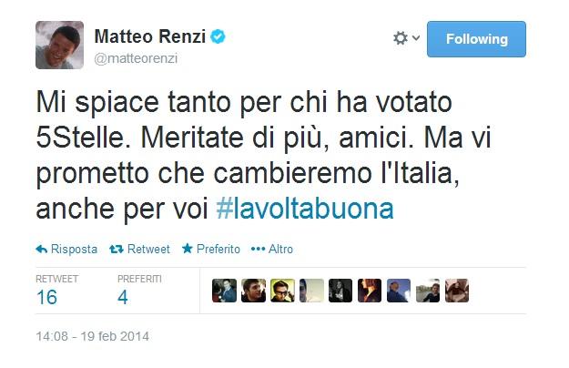 """Matteo Renzi: """"Mi spiace tanto per chi ha votato 5Stelle. Meritate di più, amici. Cambieremo l'Italia, anche per voi """""""