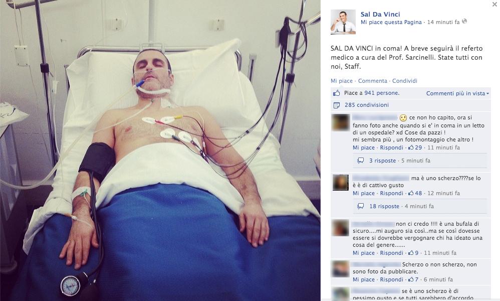 """""""Sal Da Vinci in coma"""", il giallo su Facebook"""