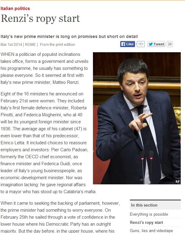 The Economist su Matteo Renzi: tante promesse, pochi dettagli
